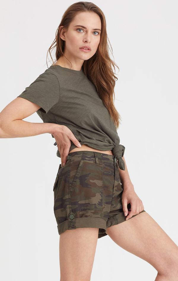 camo army cuffed shorts for spring
