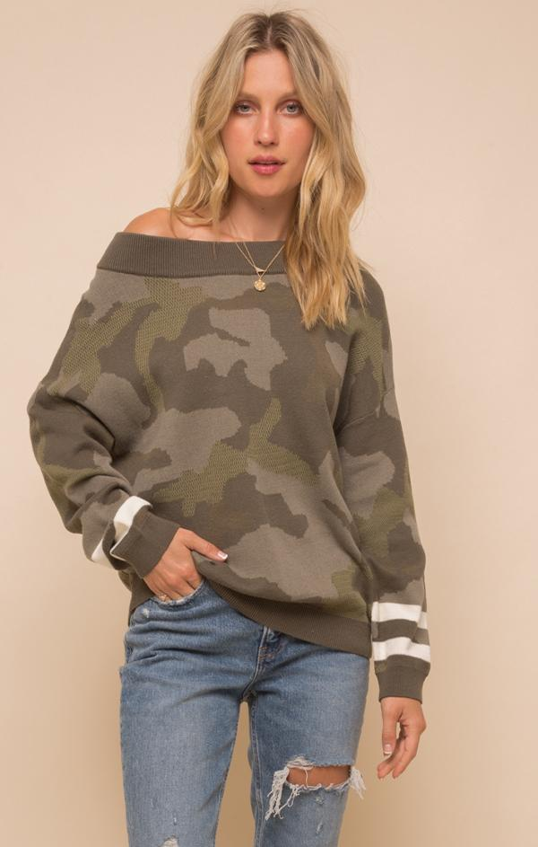 camo print off the shoulder sweater