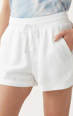 linen elastic white summer women's shorts