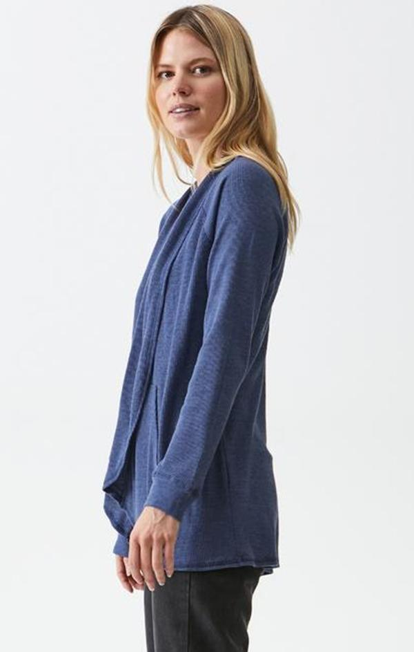blue long sleeve caridgan