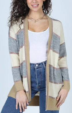 striped knit comfy cardigan for fall