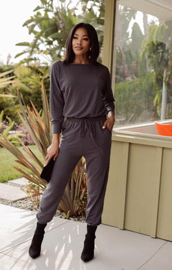 soft charcoal jumpsuit by Veronica m
