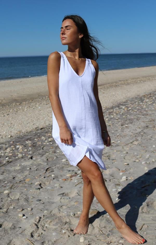 white linen relaxed fit day dress
