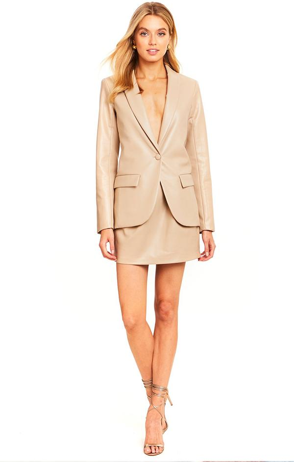 faux leather beige blazer top for spring