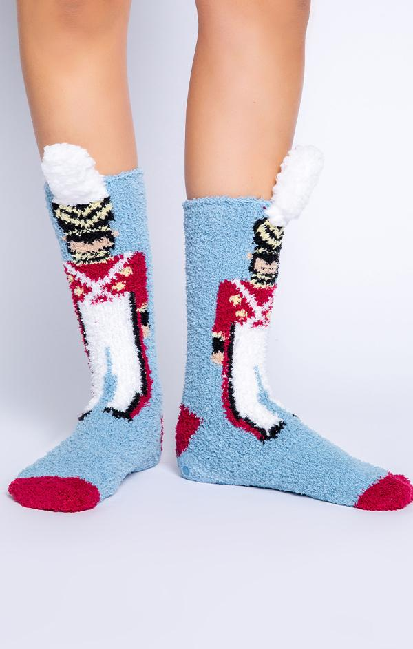 soft and cozy plush holiday socks