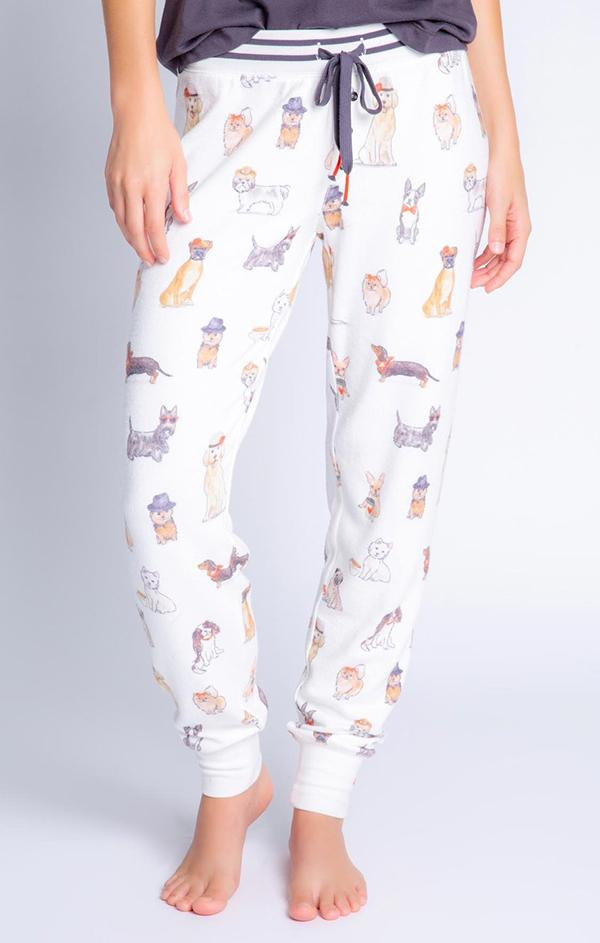 pj salvage dog print coffee and canines jam pants