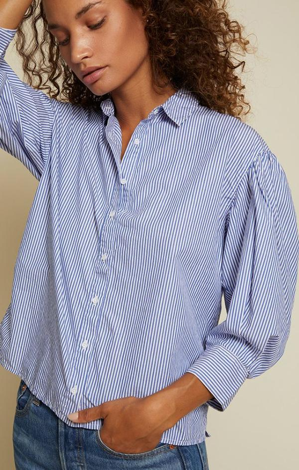 womens summer navy and white stripe button up collared blouse