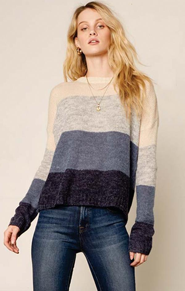 blue color block knit sweater