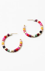 rainbow beaded half hoop earrings