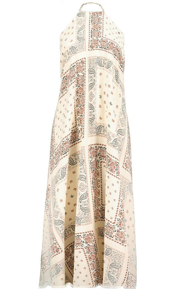 boho printed halter tie neck dress