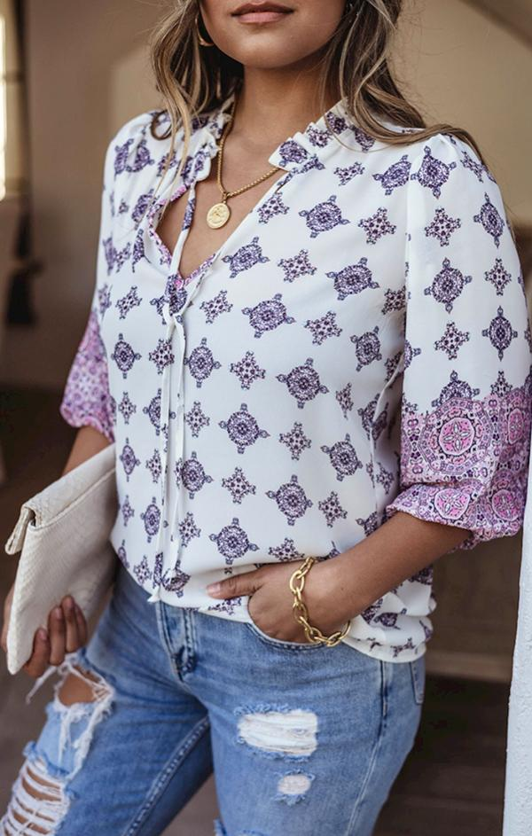 collared spring blouse with white purple pink pattern