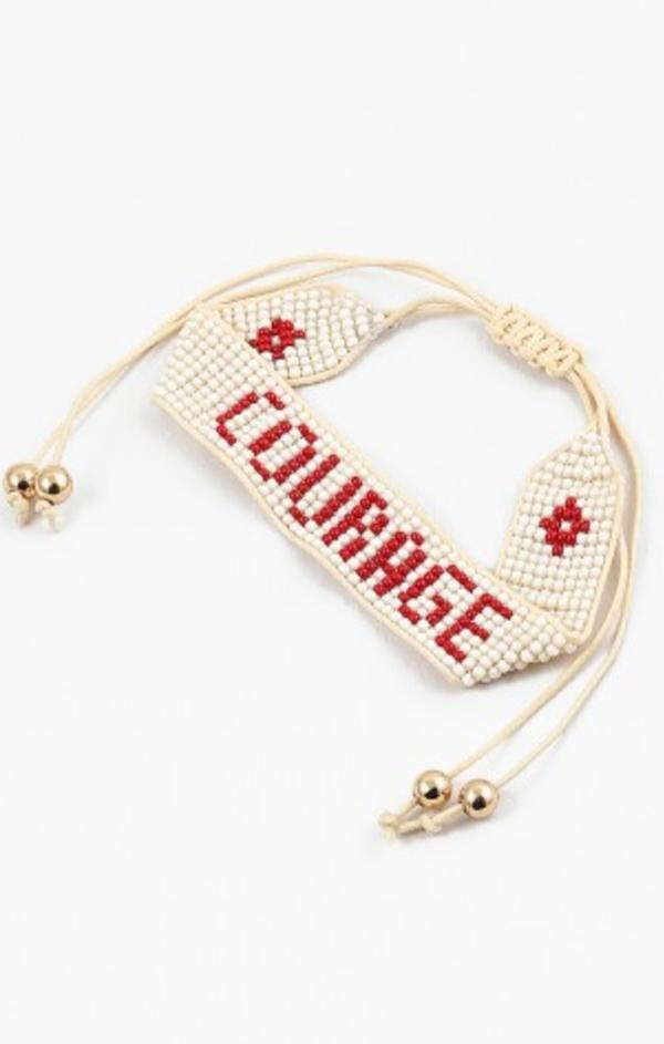 red bead summer gold and cream courage phrase bracelet