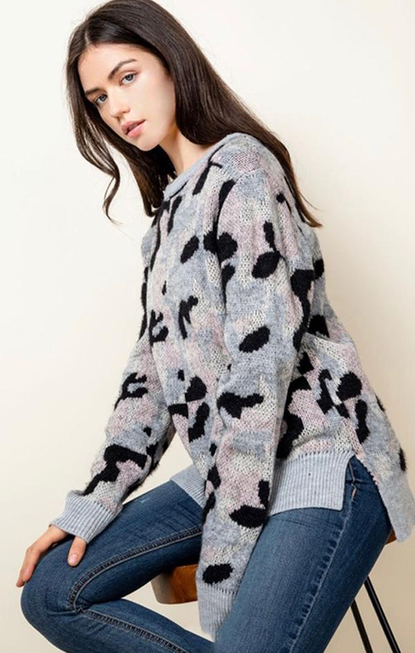 cozy long sleeve camo pullover knit sweater