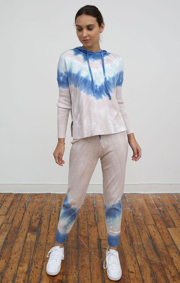 Central Park west liberty blue pink teal tie dye jogger pants