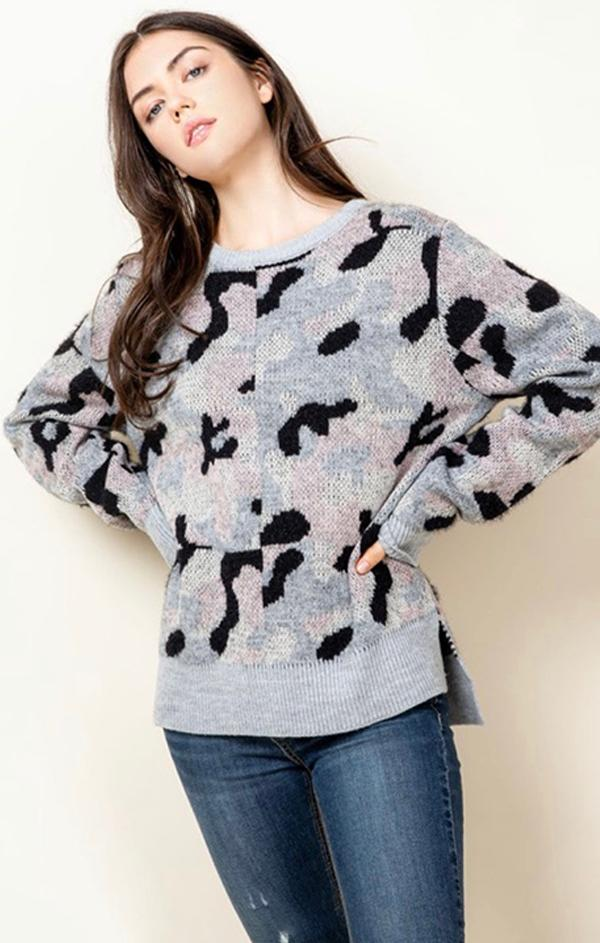 relaxed camo print pullover for winter