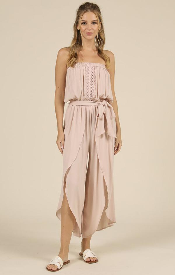 strapless mauve crochet beach jumpsuit with side slits and tie waist