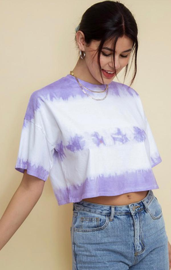 short sleeve tie dye crop top