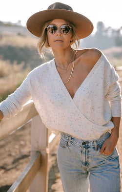 off the shoulder knit sweater top