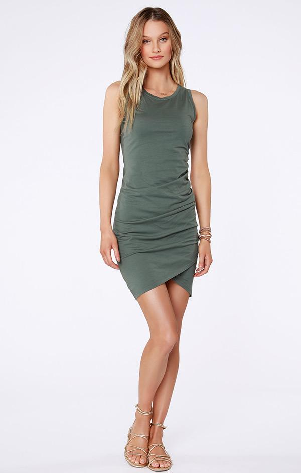 sleeveless tank dress in sage green