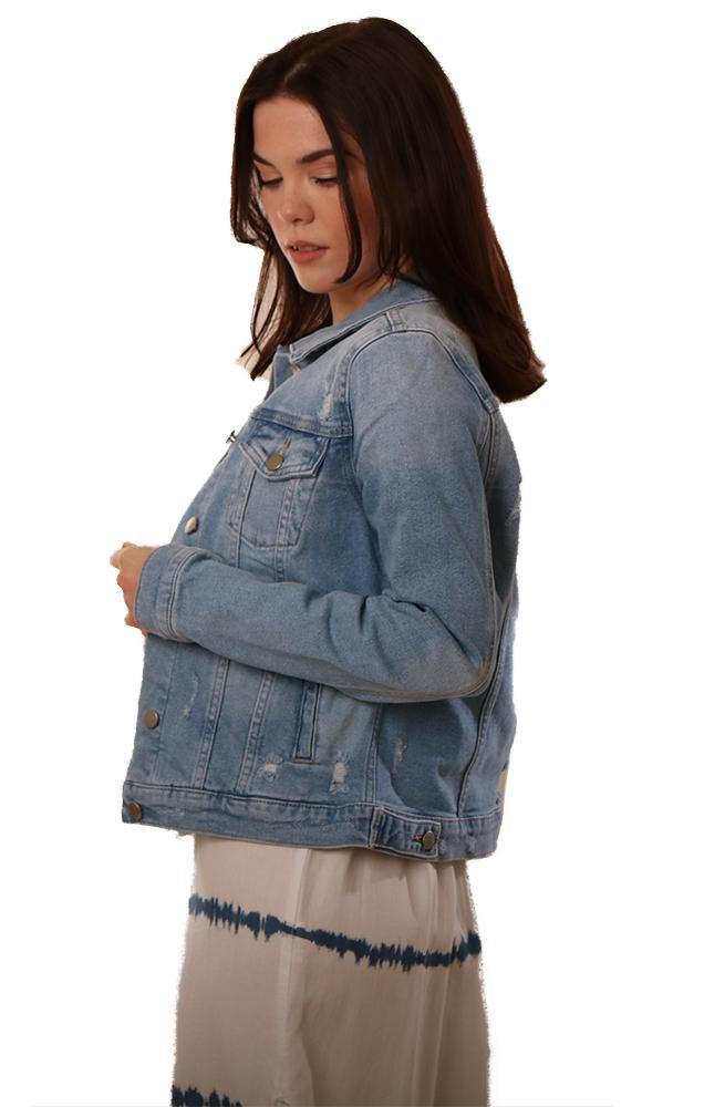 Just USA Denim Jackets Distressed Blue Button Up Classic Jean Jacket
