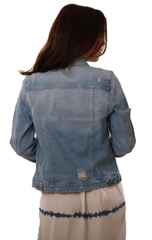 Just USA Denim Jackets Distressed Blue Button Up Jean Jacket