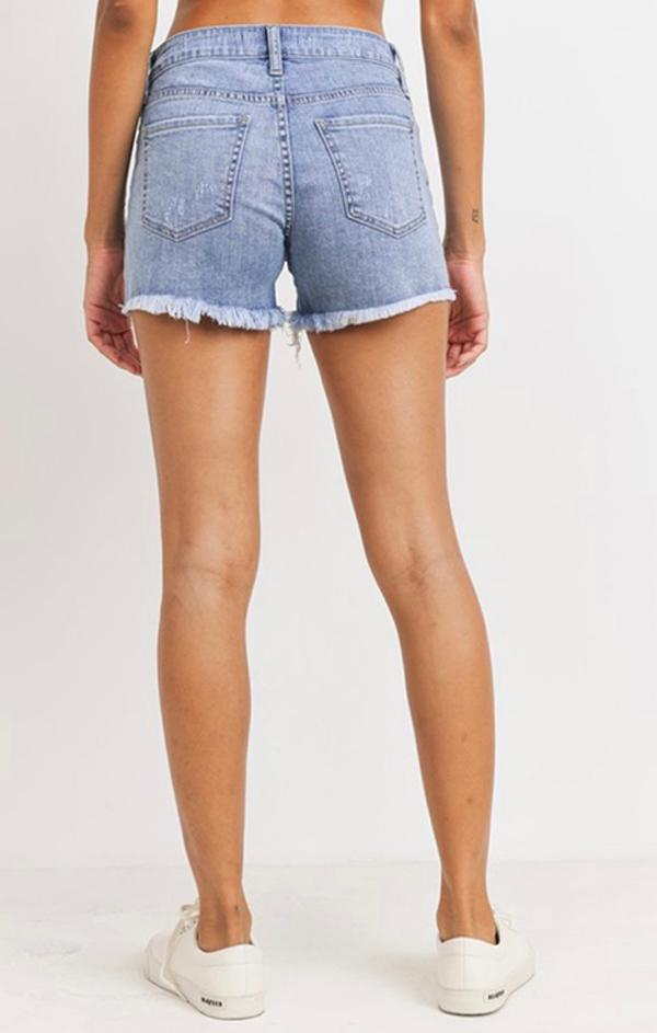 classic frayed edge distressed denim shorts