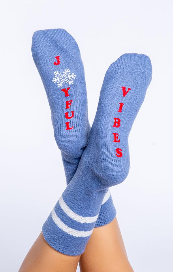 joyful vibes blue holiday socks for christmas