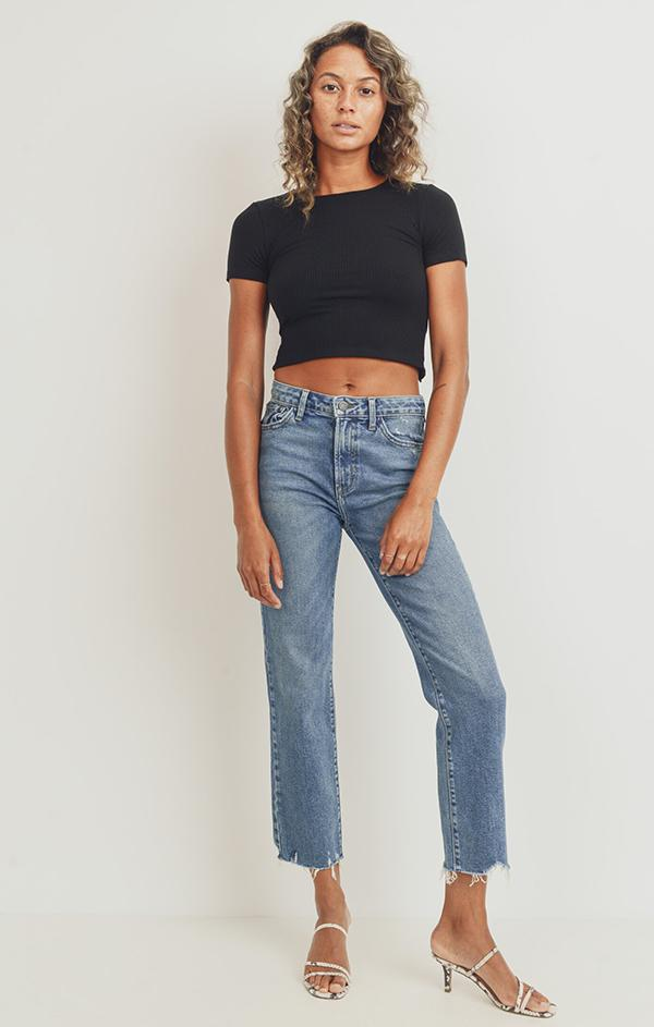 classic denim high waisted jeans