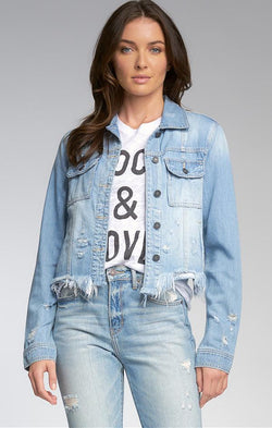crop blue light wash denim jacket with distressing thoughout