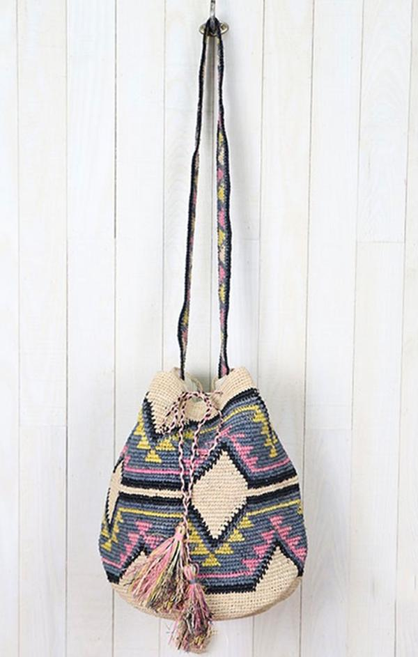 tribal embroidered drawstring bag