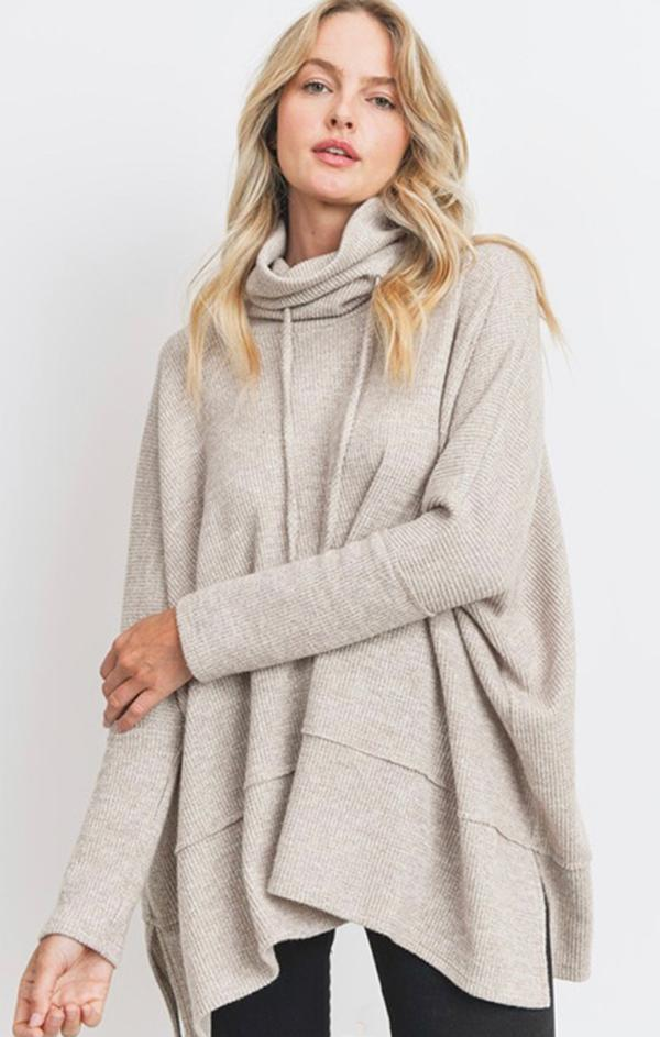 drawstring neck slouchy pullover top
