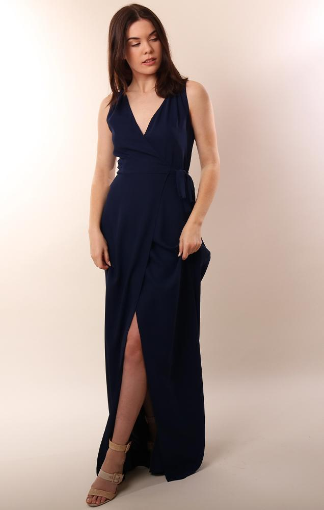 Amanda Uprichard Dresses Wrap Style Sleeveless Navy Maxi Dress