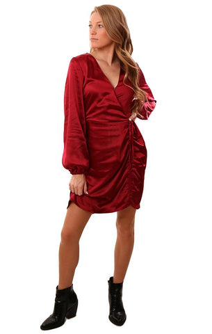 Cupcakes And Cashmere Dresses Wrap Front V Neck Silky Red Mini