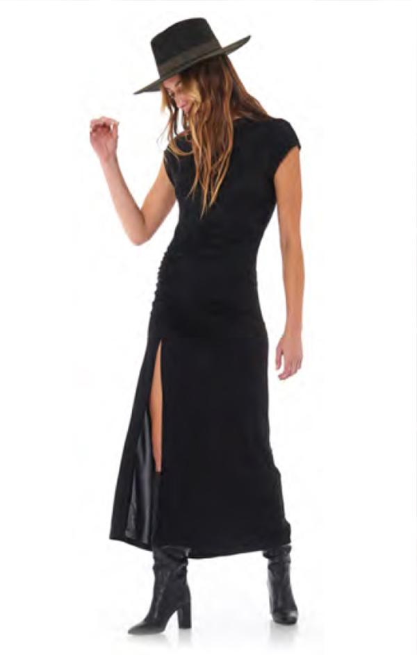 short sleeve ruched high side slit maxi dress in black