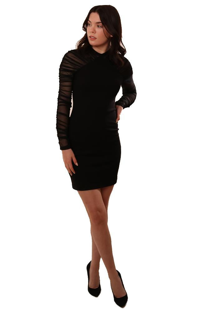 Amanda Uprichard Dresses Mesh Long Sleeve Black Dressy Bodycon Dress