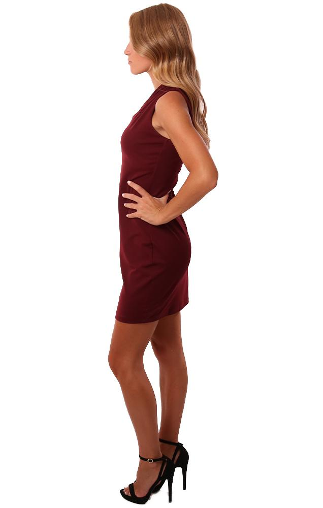 Susana Monaco Dresses One Sleeve Fitted Burgundy Mini Party dress