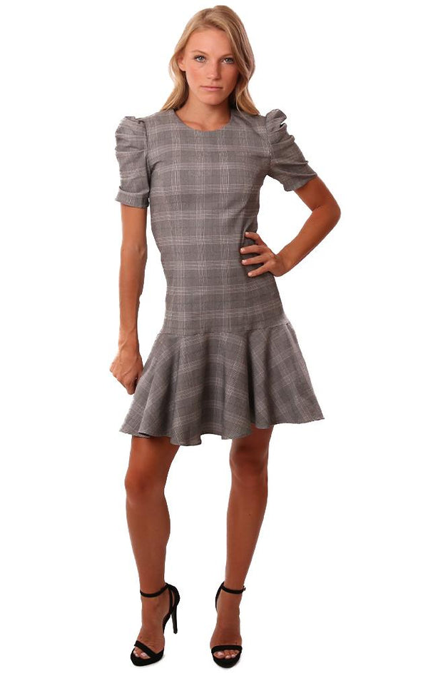 Amanda Uprichard Dresses Pouf Sleeve Flare Bottom Black White Checked Mini Office Dress