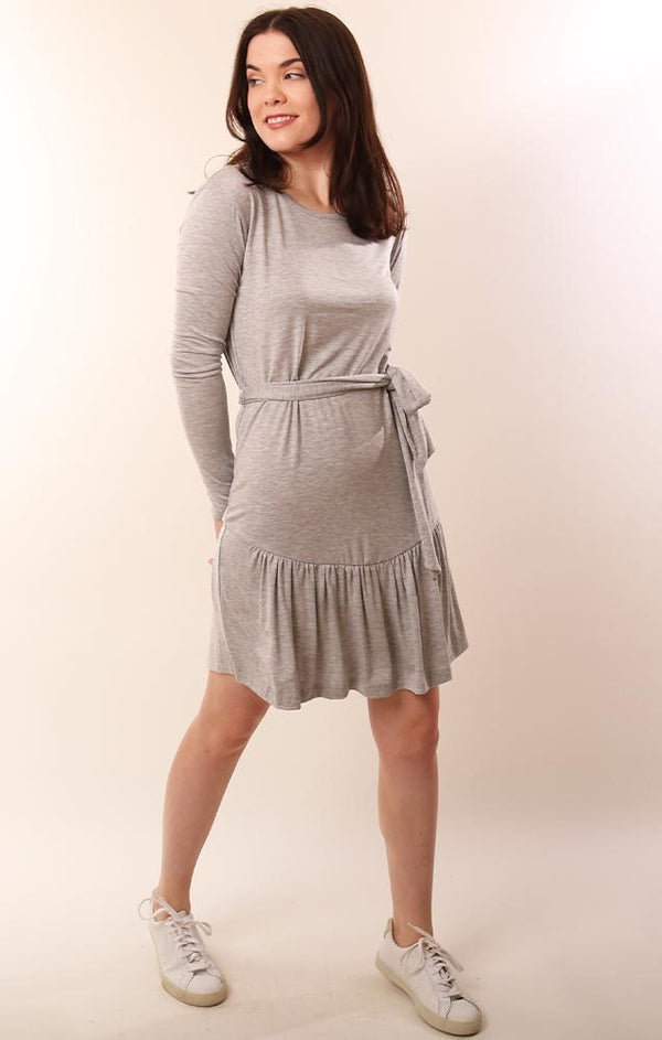 Six Fifty Long Sleeve Soft Grey Casual Flutter Dress With Tie Waist