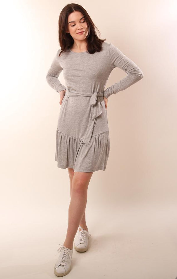 Six Fifty Long Sleeve Soft Grey Casual Flutter Hem Mini Dress