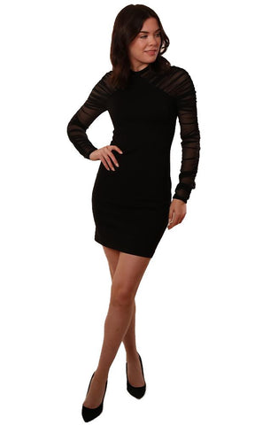 Amanda Uprichard Dresses Mesh Long Sleeve Black Bodycon Dress