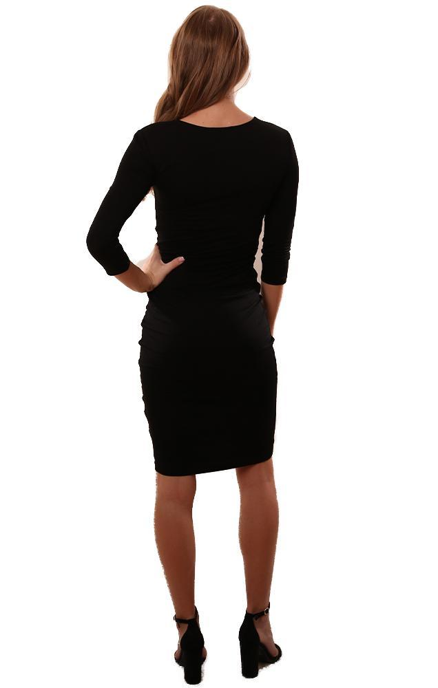 BB Dakota Dresses V Neck Ruched Fitted Black Midi