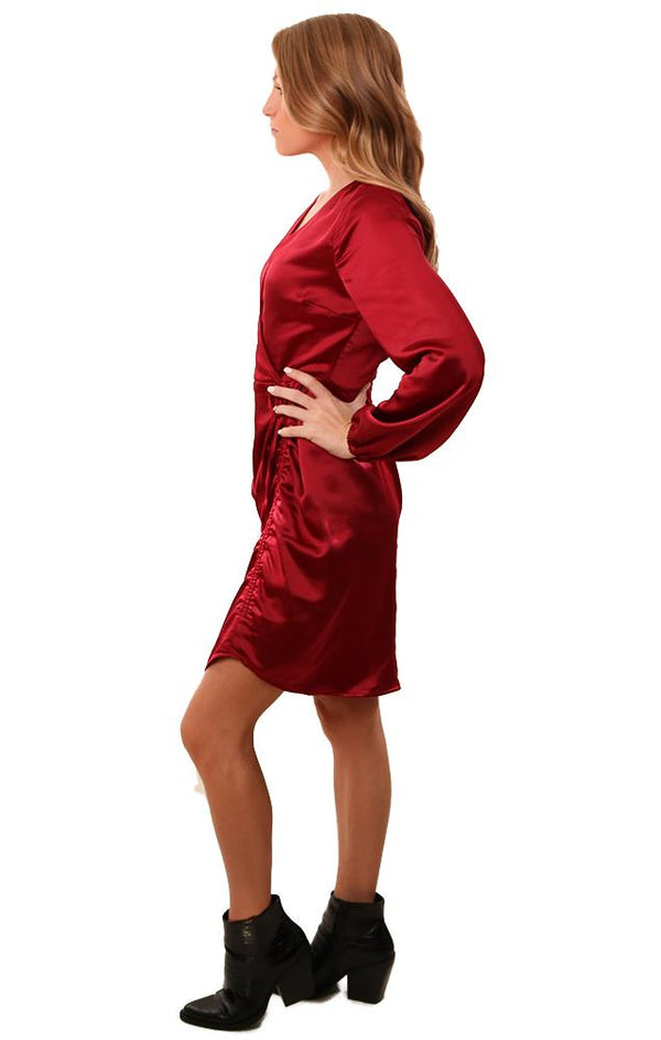 Cupcakes And Cashmere Dresses Wrap Front V Neck Silky Holiday Red Dress