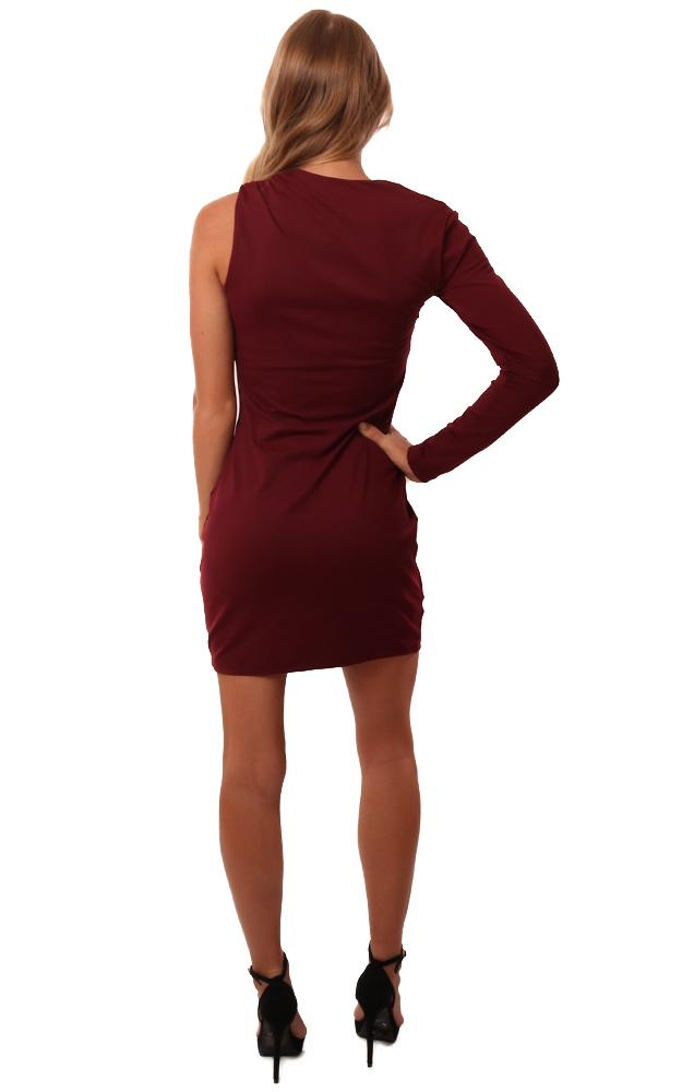 Susana Monaco Dresses One Sleeve Fitted Burgundy Mini Dress Party