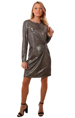 BB Dakota Dresses Gathered Front Long Sleeve Silver Holiday Mini