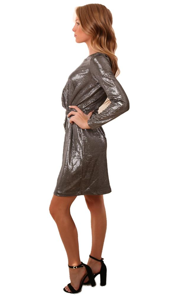 BB Dakota Dresses Gathered Front Long Sleeve Silver Mini Dress
