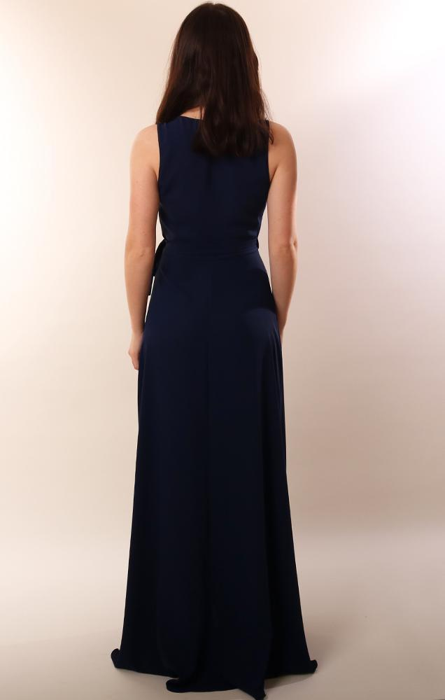 Amanda Uprichard Dresses Wrap Style Sleeveless Navy Maxi Party Dress