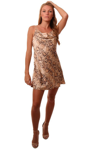 Dresses Snakeskin Printed Drape Neck Silky Tan Black Mini Slip Dress
