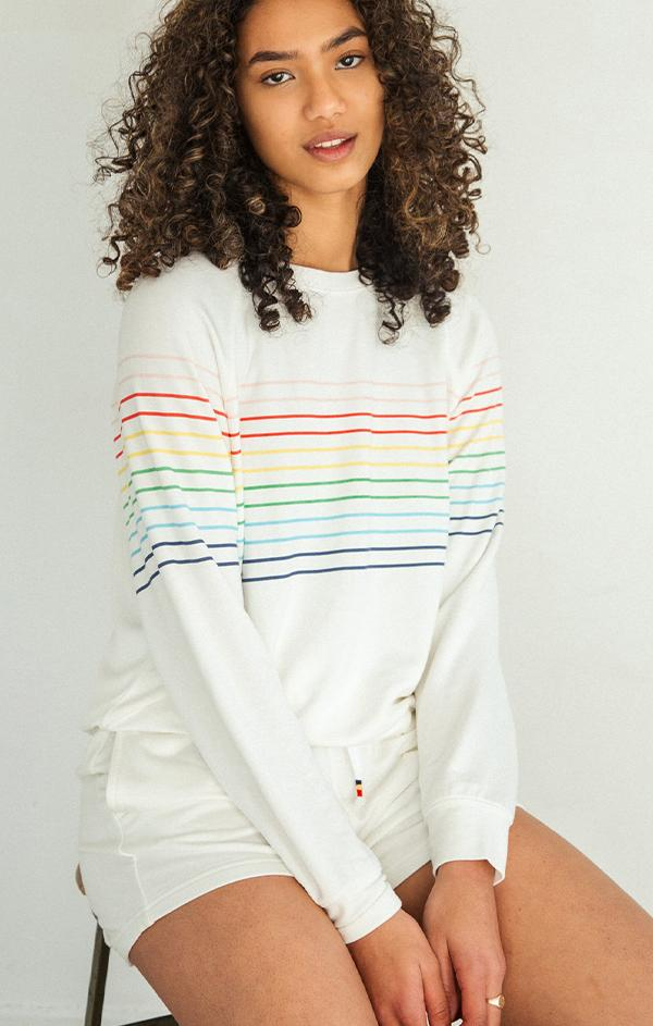 colorful striped crew neck long sleeve sweatshirt