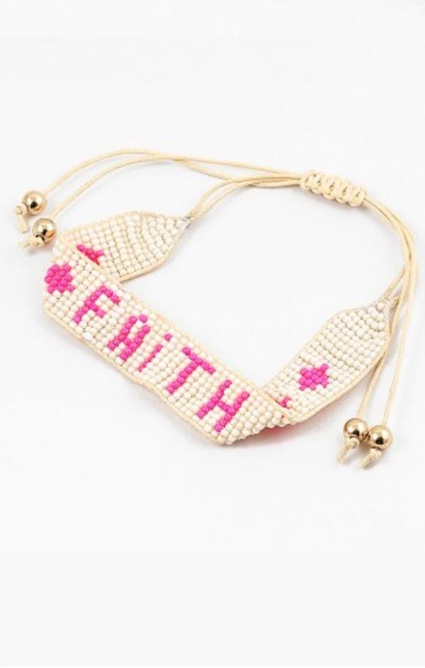pink cream gold faith summer bead women's bracelets