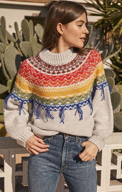 colorful knit mock neck sweater for fall